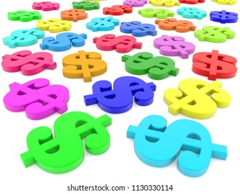 Dollar signs in various colors.3d illustration