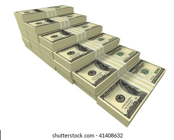 Dollar stacks arranged as a stairway isolated on white