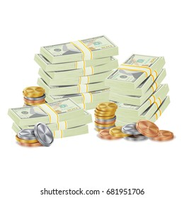 Dollar Stacks. Gold Coins And Money Banknotes. Cash Symbol. Money Bill Isolated Illustration.