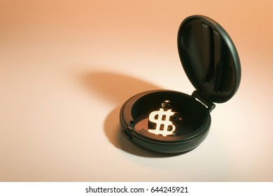 Dollar Symbol in Compact Case