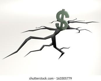 dollar symbol falling into a crack