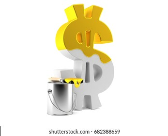 Dollar symbol with golden paint isolated on white background. 3d illustration