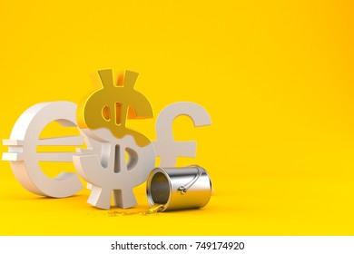 Dollar symbol with golden paint isolated on orange background. 3d illustration