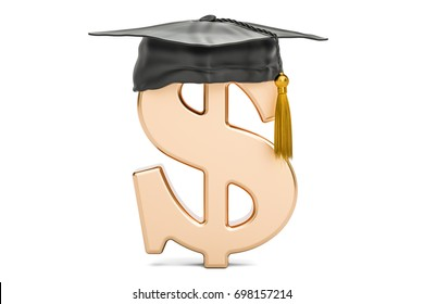 Dollar symbol with graduation cap, 3D rendering isolated on white background