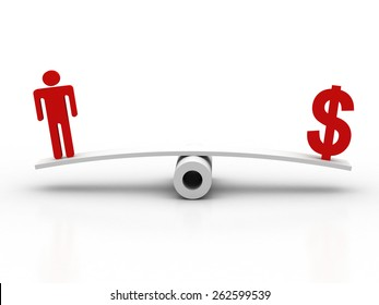 dollar symbol and human icon on scale. business concept 3d render illustration