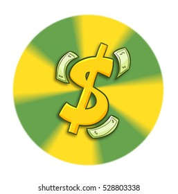 Dollar symbol and money around it in circle two color background - illustration.
