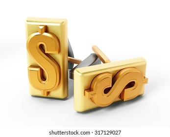 Dollar symbol on golden cufflinks isolated on white background
