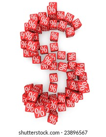 Dollar symbol from red cubes with percents