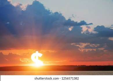 Dollar symbol as a sun at sunrise. Strengthening and growing concept. Rising up of value currency.