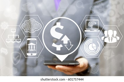 Dollar trade exchange. Financial business smartphone concept. Businessman touched location dollar arrows up down icon on virtual screen. Finance trade and stock market technology. Foreign trading