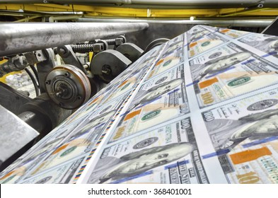 Dollar usa money print process in a modern printing house