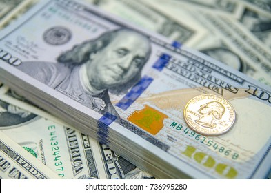 Dollar (USD) banknotes, Money currency of United States (USA), USD Dollar Bank note pile, Business and finance concept.