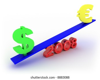 Dollar vs euro in 2008. Ready to use in your designs.