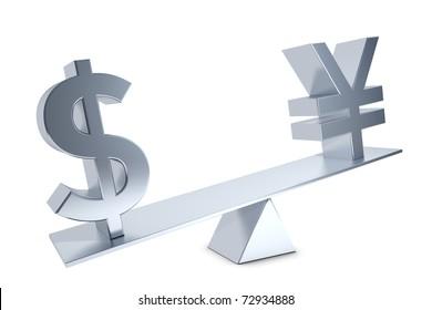 Dollar, Yen, Renminbi Dollar sign and Yen and Renminbi sign on a silver swing