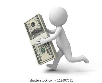 Dollar/a person carrying a bundle of dollars