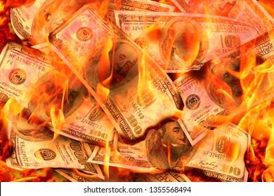 Dollars Banknotes or bills of United States of America dollars burning in flame concept of crisis, loss, recession or failure