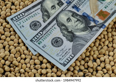 Dollars banknotes and coins and soy beans, commoditi value concept.
