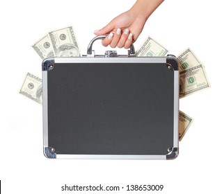 dollars bills in case in female hand isolated on white, money in suitcase