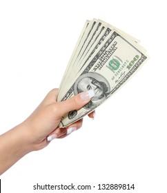 dollars bills in hand isolated on white, money