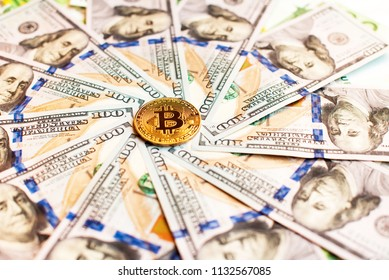 Dollars and bitcoin as an abstract symbol of the growing role of digital currency and financial transactions on the Internet (course, exchange, trade, circle - concept)