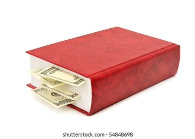 dollars in book isolated on a white