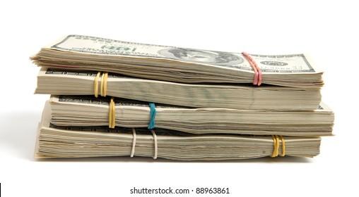 Dollars bundles isolated on white