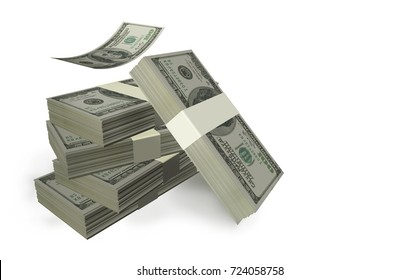 dollars bundles isolated in white background one flying - 3d rendering
