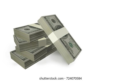 dollars bundles isolated in white background  pile - 3d rendering