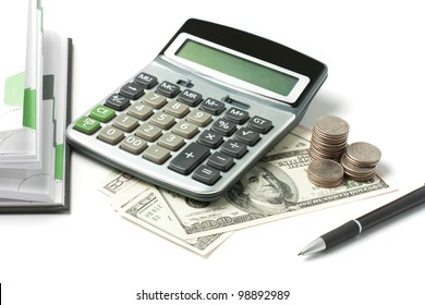 Dollars, calculator, open diary and pen isolated on white