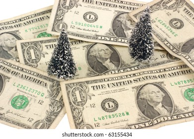 Dollars and christmas trees, christmas shopping, green investment