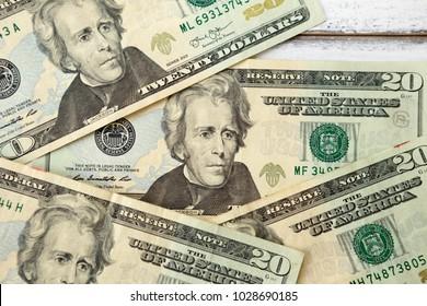 Dollars closeup, Andrew Jackson portrait, Twenty dollar bill