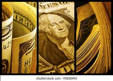 Dollars collage. Macro image set.