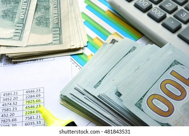 Dollars with colorful charts and calculator. Investment concept.