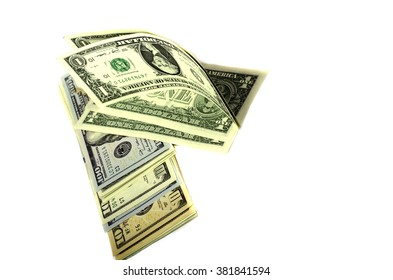 Dollars of different denominations on white background. Isolated.