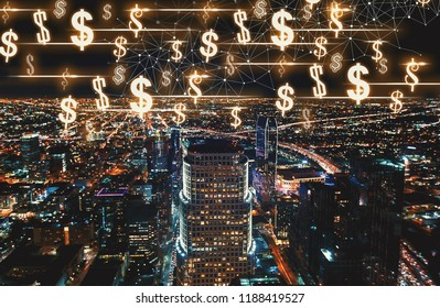 Dollars with Downtown Los Angeles at night