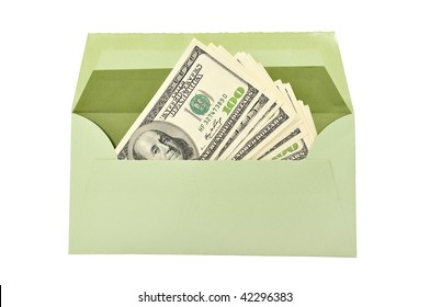 dollars in envelope isolated on a white