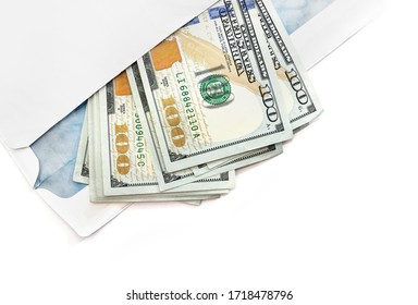 dollars envelope on a white background with copy space.