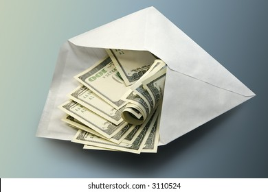 Dollars in an envelope-concept of a prosperity and riches