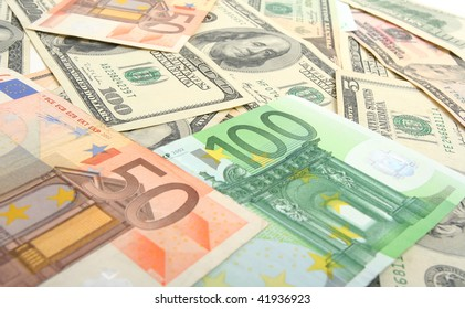 dollars and euro  background