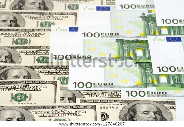 Dollars and euro banknotes background