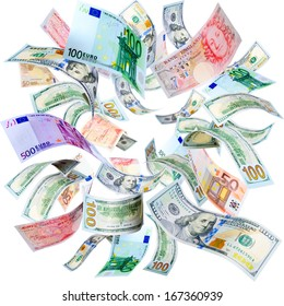 Dollars, Euros and Pounds falling and spinning isolated on white