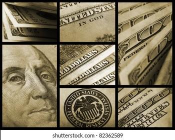 Dollars. Finance collage.