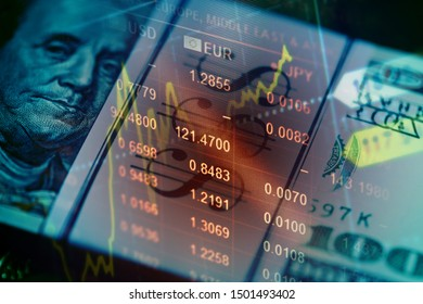 Dollars and financial data on a monitor.