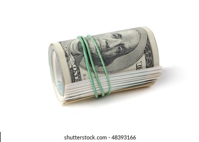 The dollars fixed by a writing elastic band