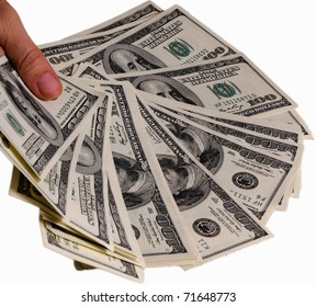 Dollars in the hand isolated on white