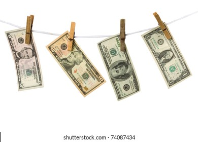 Dollars hanging from a rope on a white background isolated. Conceptual image.