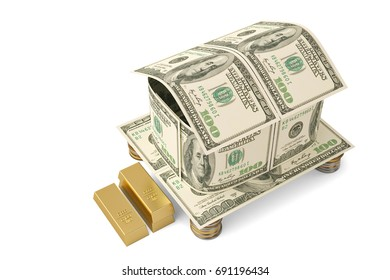 Dollars  house and gold coins.3D illustration.