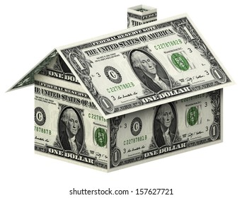 Dollars house  on white background