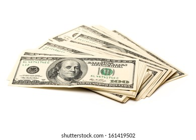 dollars isolated on white background close up look