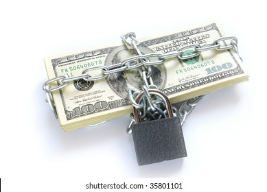 Dollars locked a chain on a white background